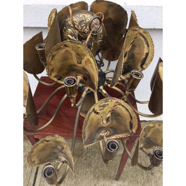 Brutalist Tom Green for Feldman Brutalist Brass Chandelier For Sale - Image 3 of 5