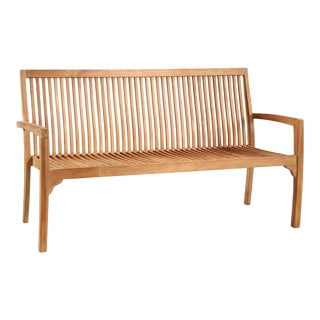 Teak Slatted Outdoor Bench