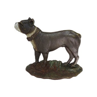 1920s Vintage Cast Iron Dog Doorstop For Sale