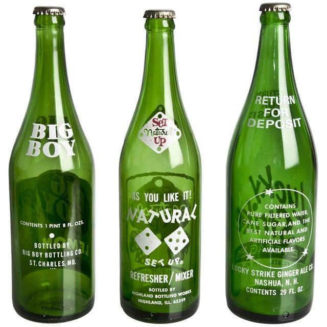 Vintage Green Soda Bottles - Set of 3 - Image 2 of 2