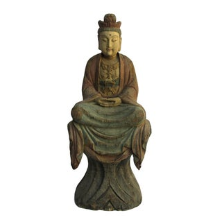 Chinese Rustic Wood Carved Sitting Buddha Statue For Sale