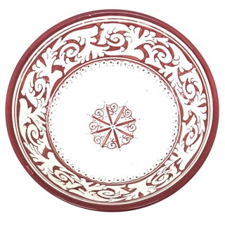 Moroccan Hand-Painted Large Red Ceramic Bowl For Sale