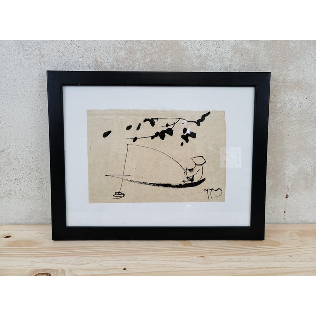 1990s Japanese Sumi Ink Drawing, Framed For Sale - Image 4 of 4