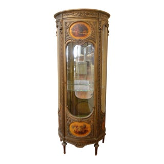 Louis XVI Style Painted Vitrine With Glass Shelves and Hand Painted Medallions For Sale
