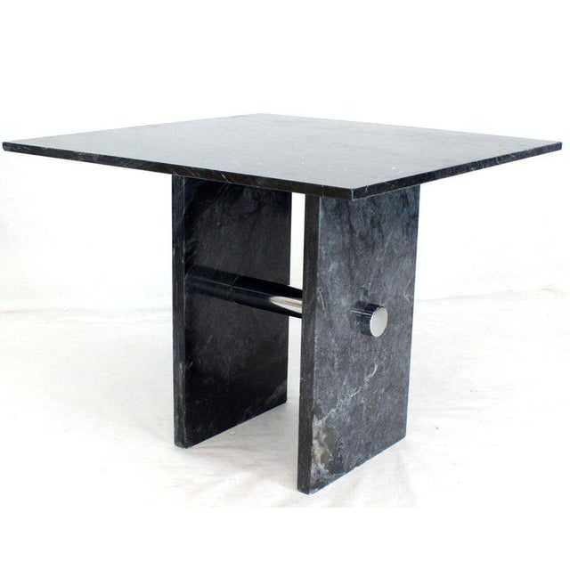 Chrome Black Square Marble Top Small Conference Dining Game Cafe Table For Sale - Image 7 of 10