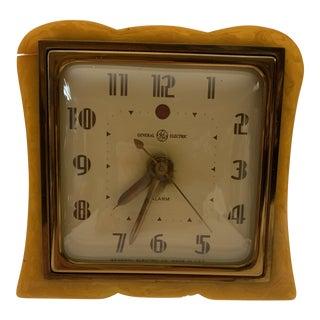 1930s Vintage Art Deco Butterscotch Bakelite Alarm Clock For Sale