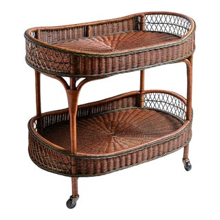 European Vintage Large Woven Rattan Trolley/Barcart. From Belgium, C.1970 For Sale