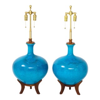 1960s Mid-Century Cerulean Blue Glazed Finish Lamps - a Pair For Sale