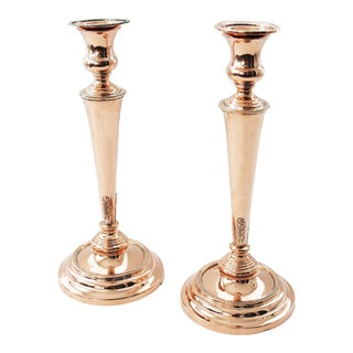 1850 Antique French Copper English Tall Trumpet Candlesticks - a Pair For Sale