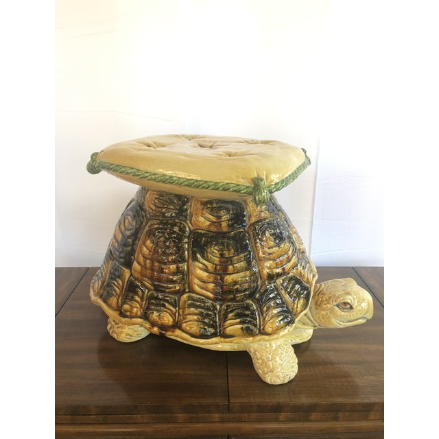 Vintage Italian Turtle Garden Stool Glazed Painted Terra Cotta For Sale - Image 12 of 12