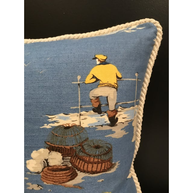 """Classic Scalamandre """"Breezy Point"""" printed on 58% linen 42% cotton. Backs Yellow Sunbrella and a lip cord in a rope theme...."""