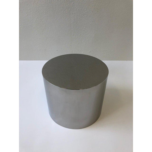 Silver 1980s Polish Stainless Drum Side Table by Brueton For Sale - Image 8 of 9