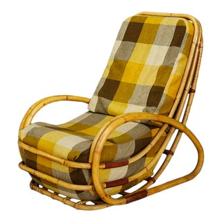 Italian Mid-Century Armchair in Bamboo and Fabric Plaid For Sale