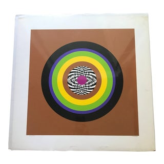 1980s Vintage Abstract Original Lithograph Geometric Art by Malka