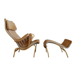 1970s Mid-Century Modern Bruno Mathsson for Dux of Sweden Pernilla Lounge Chair With Ottoman