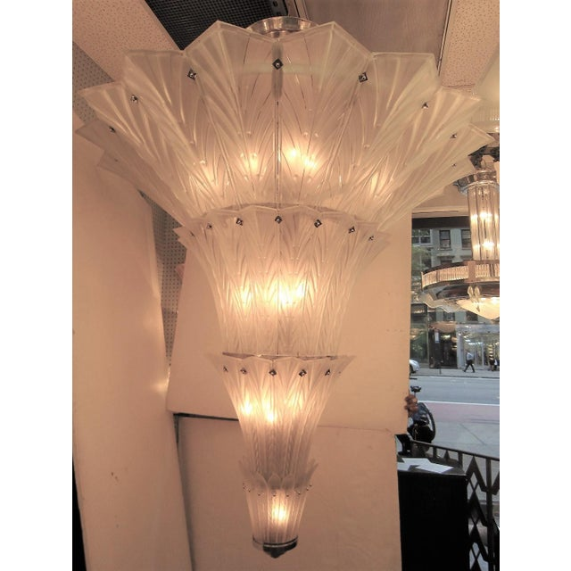 Palatial, Gigantic French Art Deco Art Glass Chandelier by Sabino For Sale - Image 10 of 13