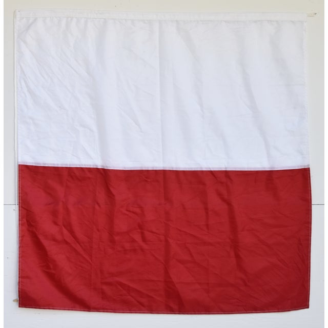 """Vintage Maritime Nautical Naval Signal """"H"""" Flag - 49"""" X 47"""" For Sale In Los Angeles - Image 6 of 7"""