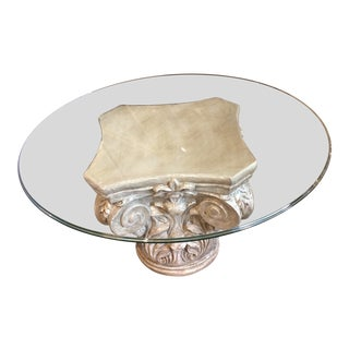 Parisian Capitol Round Glass Table For Sale