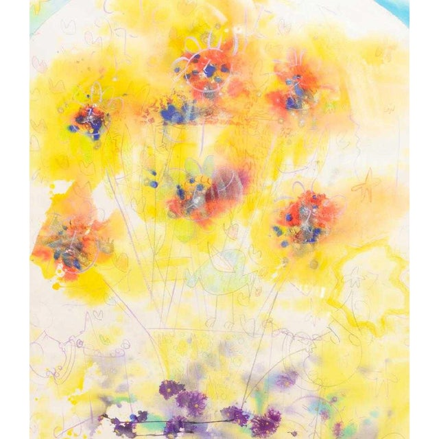 This large framed abstract watercolor painting will add a splash of sunshine to any room. It is so cheery, it will make...