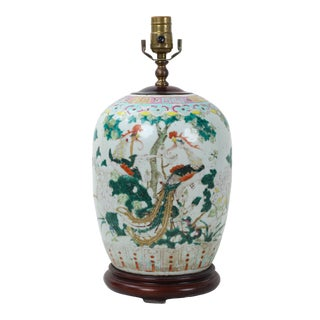 19th Century Chinese Famille Rose Ginger Vase Lamp For Sale