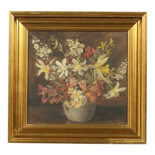 1939 Impressionist-Style Oil Painting of a Floral Still Life by Tony Muller For Sale