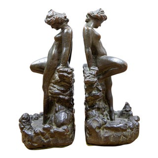 1920s Bronze Clad Female Nude Bookends - A Pair For Sale