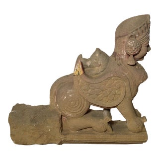 Indian Hand-Carved 19th Century Stone Sphinx Sculpture with Tiara and Earrings For Sale