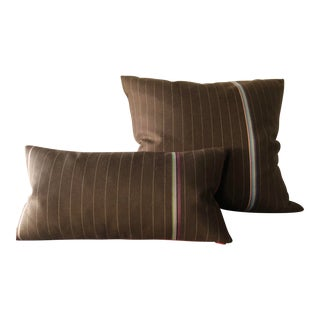 Menswear Inspired Pinstripe Throw Pillows - a Pair For Sale