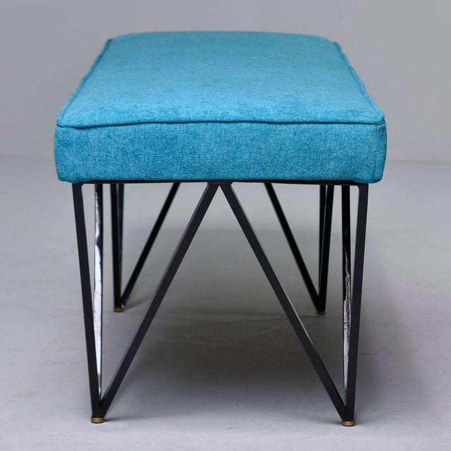 Italian Mid-Century Style Bench With Teal Fabric and Black Metal Legs For Sale In Detroit - Image 6 of 10