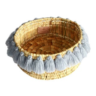 Moroccan Grey Tassel Small Basket For Sale