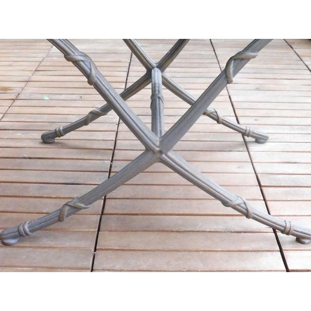 Aluminum 1970's Saber Leg Faux Bamboo Aluminum Bench For Sale - Image 7 of 10