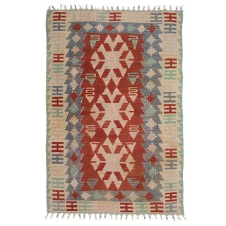 Vintage Turkish Kilim Rug - Blue and Green With Faded Red Detail For Sale