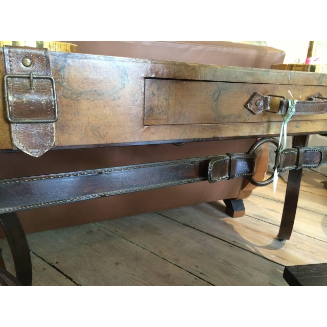 Mid 20th Century World Map Suitcase Table With Leather Straps and Buckles For Sale - Image 5 of 11