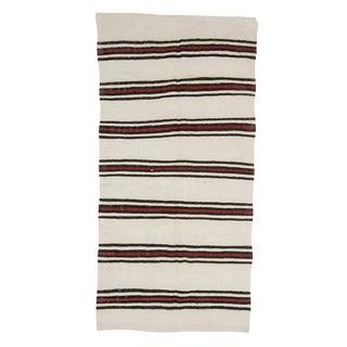 Mid 20th Century Vintage Hemp Striped Kilim Rug-4′ × 8′ For Sale