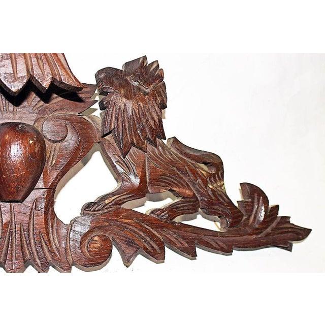 French Antique Oak Lion Cartouche - Image 7 of 8