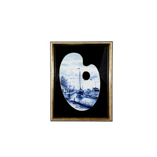 Vintage Delftware Framed Porcelain Painter's Palette