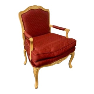 Leugers Regency Hall French Provincial Silk Armchair For Sale