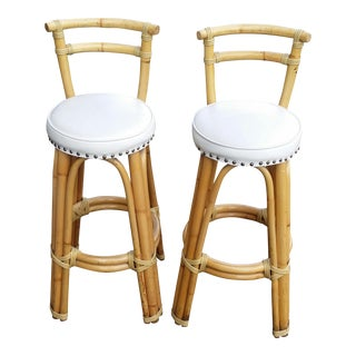 Mid Century Bamboo Tiki Style Bar Stools - a Pair For Sale
