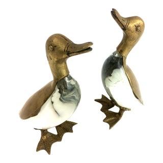 Luca Bojola Brass & Glass Duck Statues Sculptures - A Pair