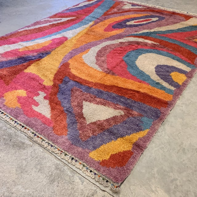 Fantastic psychedelic handmade shag rug ready for your Boho or Modern style home! Would be great in a kids room as well....