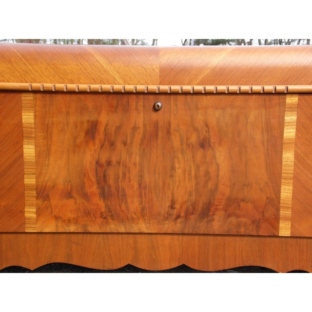Antique LANE Art Deco Waterfall Cedar Hope Chest Storage Trunk For Sale - Image 9 of 13