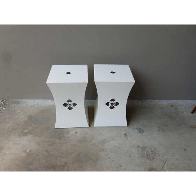 Pair of Hollywood Regency chinoiserie white lacquer stands perfect for that design freak who is looking for something...
