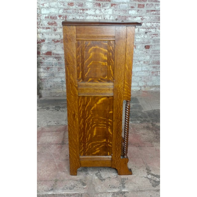 Traditional Antique Victorian Oak Cabinet W/Hidden Jewelry Safe -Rare For Sale - Image 3 of 11