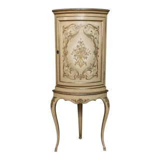 Antique Italian Baroque Painted Corner Cabinet For Sale