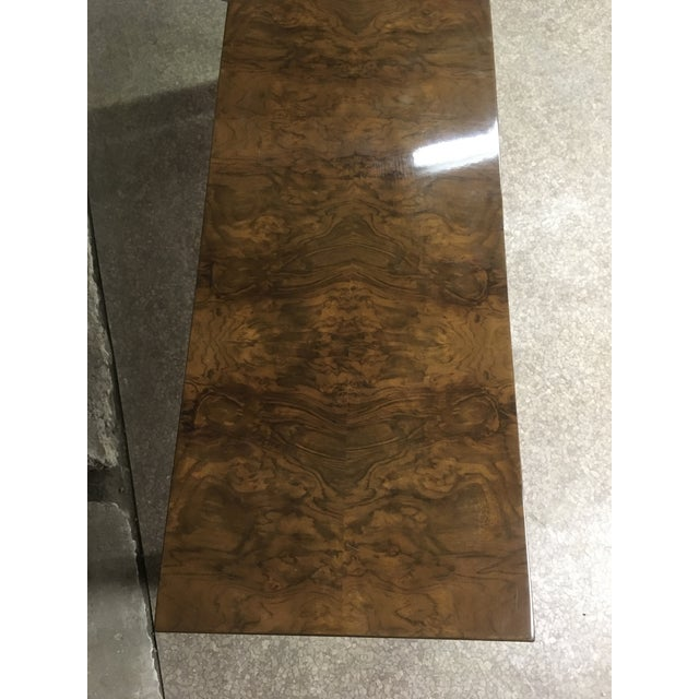 Chestnut 1970s Burlwood Console Table For Sale - Image 8 of 11