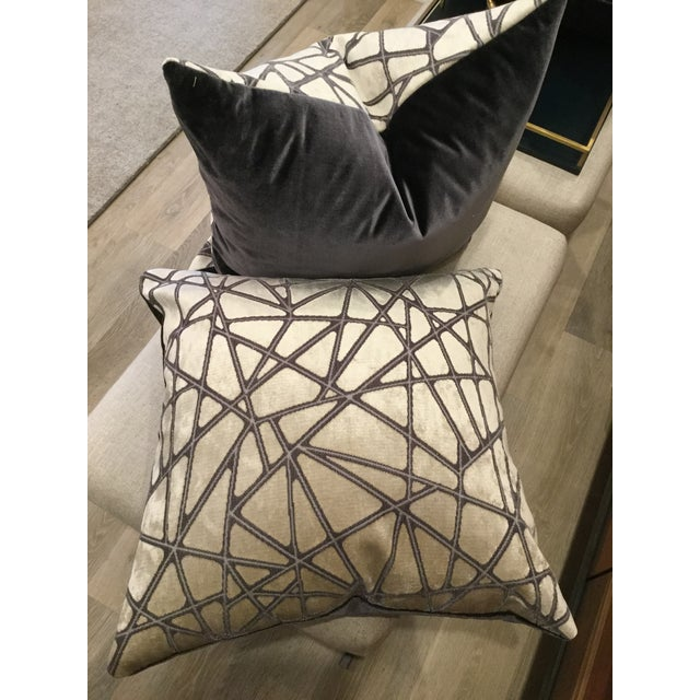 Holly Hunt Holly Hunt Silver Streak Silk Velvet Pillows - A Pair For Sale - Image 4 of 6