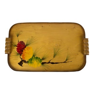 Early California Hand Painted Tray With Bamboo Handles For Sale