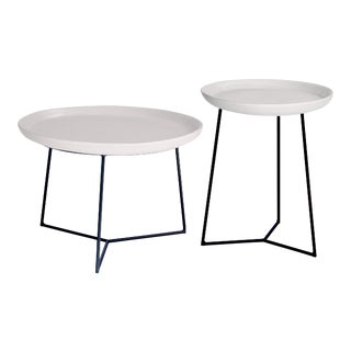 Link 2 Piece Round Tiered Outdoor Accent Tables, White For Sale