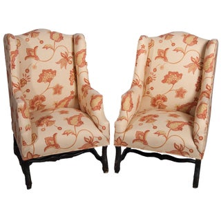 Louis XIII Style Wing Chairs With New Upholstery - a Pair For Sale