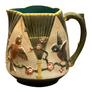 19th Century English Majolica Pitcher With Birds For Sale